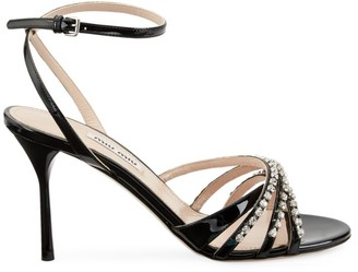 Miu Miu Jewelled Patent Leather Sandals