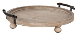 """Kate and Laurel Bruillet Round Wooden Footed Tray - 15"""" x 3.75"""""""