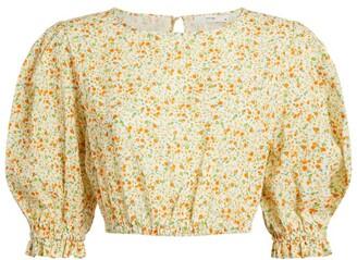 Peony Swimwear Floral Puff-Sleeved Crop Top
