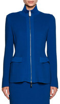 Giorgio Armani Ottoman Knit Flap-Pocket Zip Jacket, Electric Blue