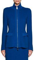 Giorgio Armani Ottoman Knit Flap-Pocket Zip Jacket, Electric Blue