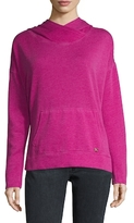 Betsey Johnson Cotton Hooded Split Hem Sweater