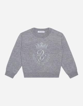 Dolce & Gabbana Crew Neck Wool Sweater With Heritage Embroidery