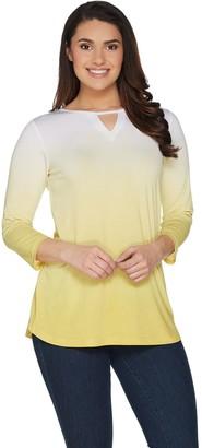 Belle By Kim Gravel Dip Dye 3/4 Sleeve Top