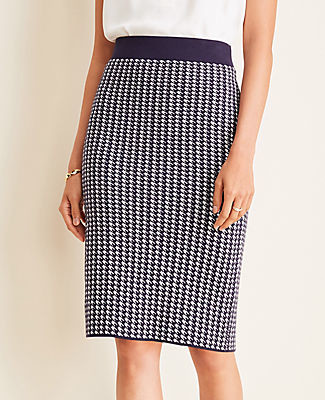 Ann Taylor Houndstooth Sweater Pencil Skirt
