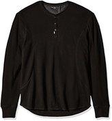 Calvin Klein Jeans Men's Mixed Media Slub Waffle Henley Long Sleeve Shirt