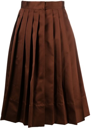 Plan C Pleated Flared Midi Skirt