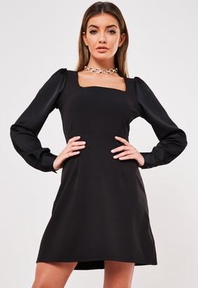 Missguided Black Square Neck Satin Sleeve Mini Dress