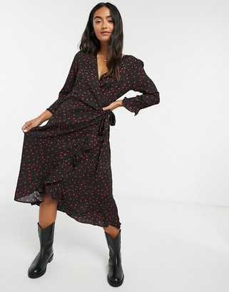 Brave Soul heart print wrap dress