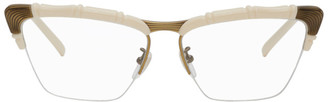 Gucci Off-White and Bronze Half-Rim Cat-Eye Glasses