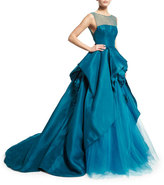 Monique Lhuillier Illusion Strapless Ball Gown W/Rosettes, Teal