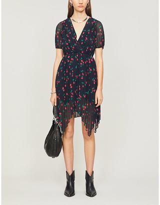 The Kooples Cherry-print pleated crepe midi dress