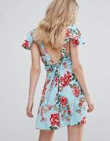 Influence Tie Back Flutter Sleeve Floral Tea Dress