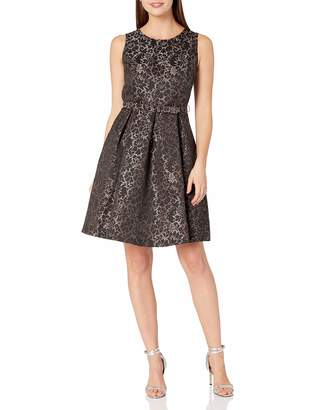 Nine West Women's Princess Seam Dress W Pleat Flare Skirt and Belt