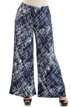 24seven Comfort Apparel Women's Plus Size Weave Print Palazzo Pants