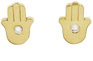 Jennifer Meyer Mini Diamond Hamsa Stud Yellow Gold Earrings