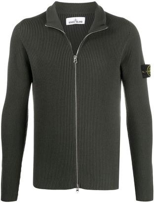 Stone Island Zip-Up Wool Cardigan