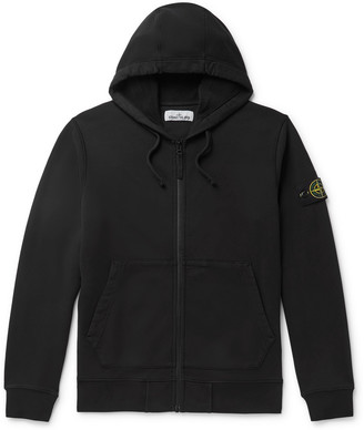 Stone Island Logo-Appliqued Loopback Cotton-Jersey Zip-Up Hoodie