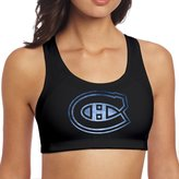 MJUKLO Women's Montreal Canadiens Pond Logo Racerback Yoga Sports Bra