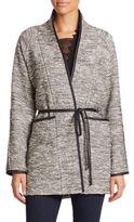 Rebecca Taylor Faux Leather-Trim Tweed Coat