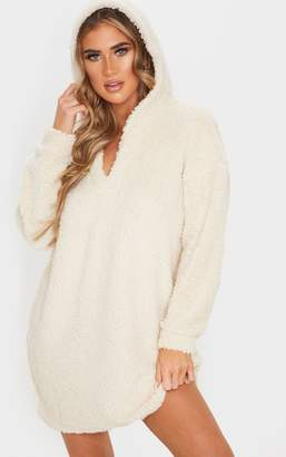 No Name Noname Cream Borg V Neck Hoodie Jumper Dress