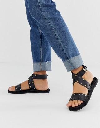 ASOS DESIGN Jerry studded leather espadrille sandals in black