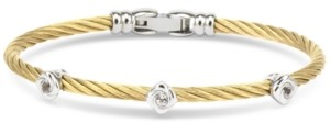 Charriol White Topaz Cable Bangle Bracelet (5/8 ct. t.w.) in Sterling Silver & Gold-Tone Pvd Stainless Steel