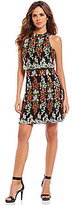 Gianni Bini Tobie Crepe A-line Floral Embroidered Popover Dress