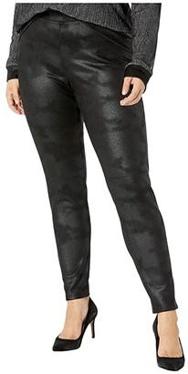 Hue Plus Size Textured Microsuede Leggings (Black) Women's Casual Pants