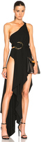 Anthony Vaccarello Double Ring Draped One Strap Gown