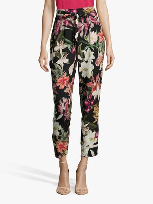 Betty Barclay Betty & Co. Floral Trousers, Black/Purple