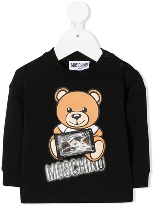 MOSCHINO BAMBINO Teddy Bear Print Long-Sleeved Top