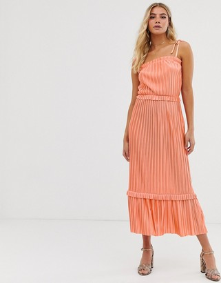 Miss Selfridge cami midi dress with frill hem in coral-Pink