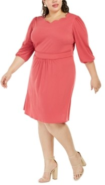Monteau Trendy Plus Size Scalloped-Neck Dress