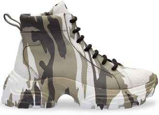 Miu Miu Crackled Camouflage High-Top Sneakers
