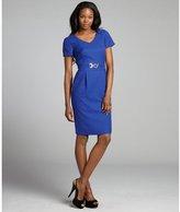 Tahari ASL cobalt blue textured short sleeve ring belted dress