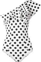 Lisa Marie Fernandez Arden Ruffled One-shoulder Polka-dot Bonded Swimsuit - White