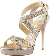 Jimmy Choo Vamp Glitter-Strap Sandal