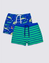 Marks and Spencer 2 Pack Print & Stripe Swim Shorts (0-5 Years)