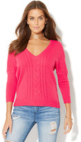 New York & Co. Cable-Knit Dolman Sweater