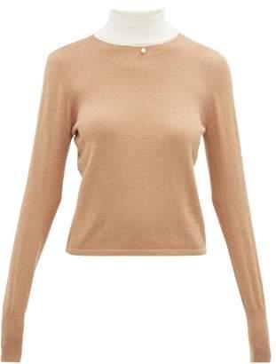 STAUD Urchin Contrasting High Neck Cotton-blend Sweater - Womens - Beige White