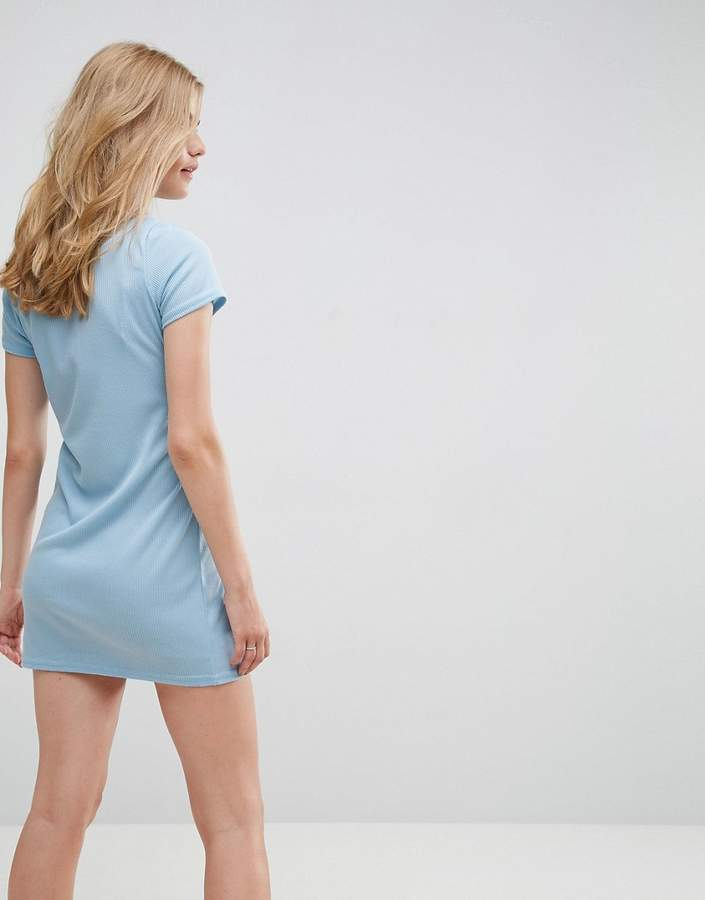 Daisy Street T-Shirt Dress With Tie Waist And Zip Front