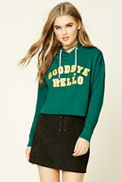 Forever 21 FOREVER 21+ Goodbye Hello Raw-Cut Hoodie