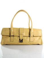 Lambertson Truex Yellow Leather Silver Tone Double Strap Flap Satchel Handbag
