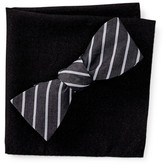 Original Penguin Thistle Stripe Bow Tie and Pocket Square Set