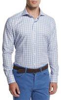 Peter Millar High Hat Check Long-Sleeve Sport Shirt, Blue
