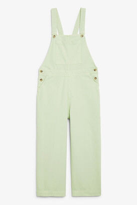 Monki Cropped denim dungarees