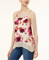 Kensie Floral-Print Lace-Hem Top