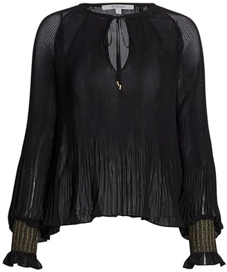 Derek Lam 10 Crosby Pleated Metallic-Cuff Blouse