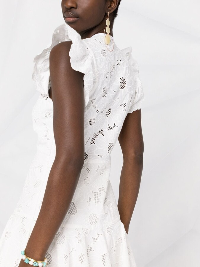 Thumbnail for your product : Sandro Floral Embroidered Ruffle Dress
